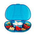 Blue transparent plastic pill box