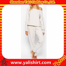 Customized plain cheap mix size loungewear 100%cotton french terry off shoulder crop top sweat suit