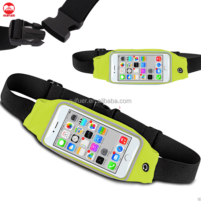 Wholesale High Quality Gym Jogging Touch Screen Zipper Bum Bag Pouch Reflective Sport Running Waist Pack for Iphone 6 Samsung