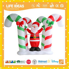 8' christmas inflatable lighted santa claus with candy cane yard art decoration