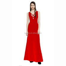 2017 Women's V-neck Backless Fishtail Red & Black Evening Formal Floor-length Bandage Dress