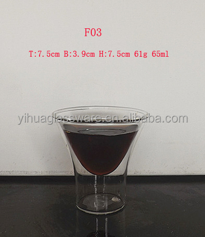 65ml Hurricane Shape Double Wall Glass Cup/Clear Wine Glass