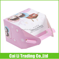 offset printing white paper coated wheeled storage boxes with handle