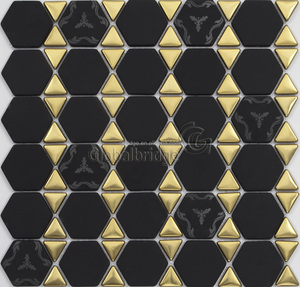 Glod and black color glossy and matt surface enamel glass mosaic for kitchen mosaic