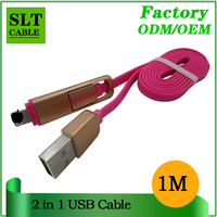 SLT Factory Outlet 2 in 1 Cell Phone USB Cable For Android Mobile Phone and iphone Data Sync Charging