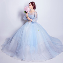 ZH1973D Sexy o neck long sleeve mesh women blue wedding dress