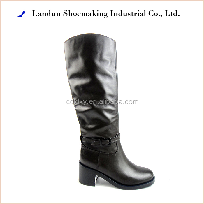 Fetish knee high black leather boots for women