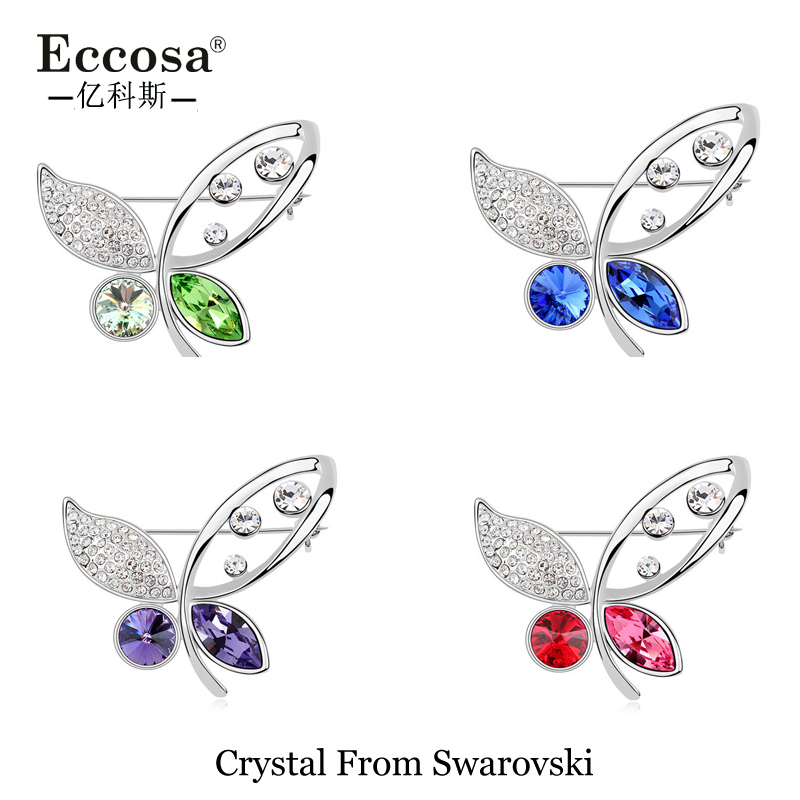 Wholesale bulk brooch wedding accessories butterfly brooch pins crystal from swarovski