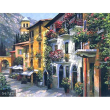 Handmade mediterranean buildings painting italian coast art oils on canvas