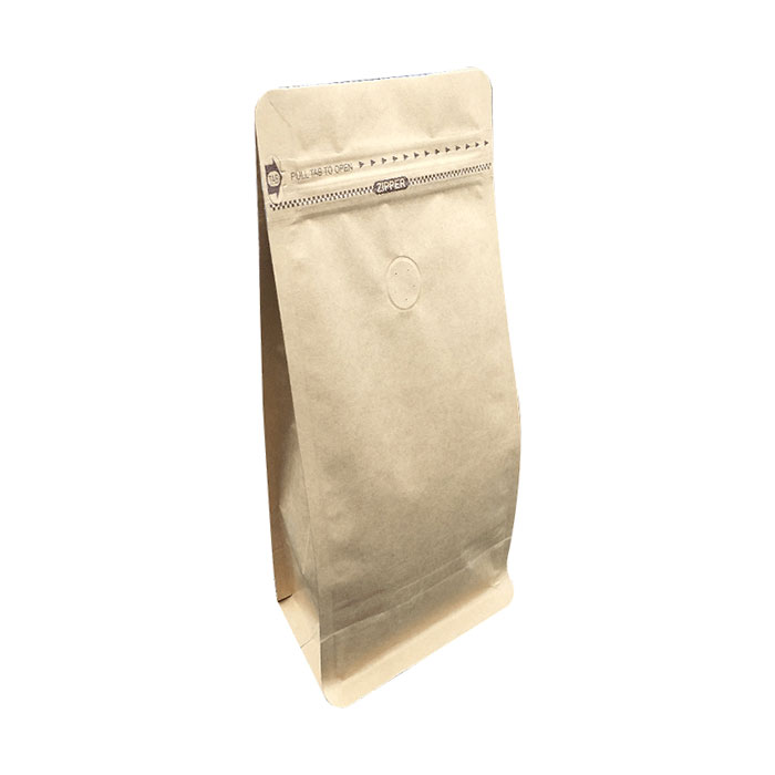 500g White Kraft Paper Foil Lined Stand Up Pouch Ziplock Coffee Bag with Valve