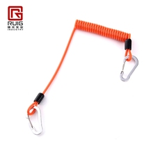 Spring coil tools elastic pu coated safety lanyard for steeplejack