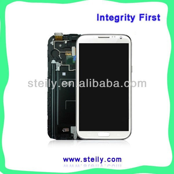 Brand New White and Gray LCD screen Touch Screen Digitizer Assembly for samsung Galaxy Note 2 II N7100 With Frame