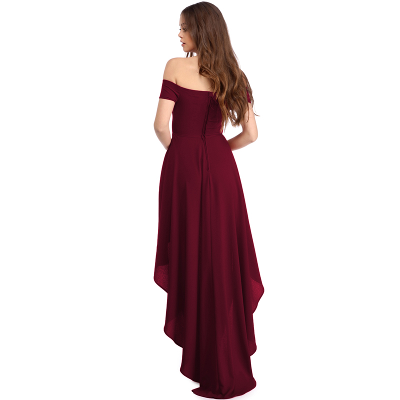 Top Sell Sexy Red High Low Hem Off Shoulder Party Cocktail Dress
