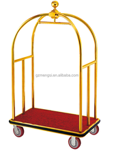 titanium gold coated hotel bellman luggage trolley