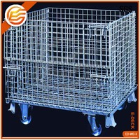 Galvanized Wire Steel Cage Folding Metal Storage Crate With Wheels