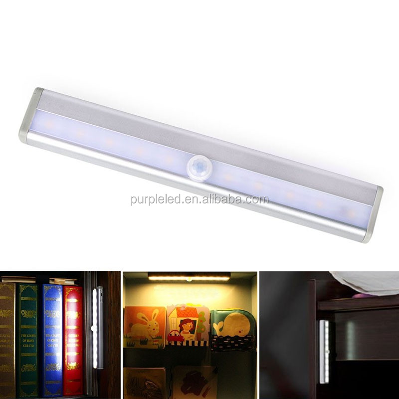 Shenghui AMAZON HOT SELL High Quality Portable Plastic Cover 10 LED wardrobe light cabinet Motion Sensor Under Cabinet Light