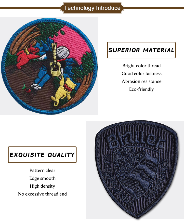 Custom design embroidery applique or embroidered patch with Iron Badges