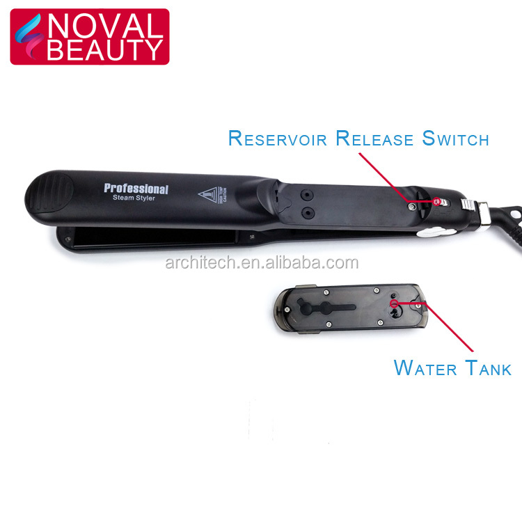 Professional customize ceramic coating led display steam flat iron steam hair straightener