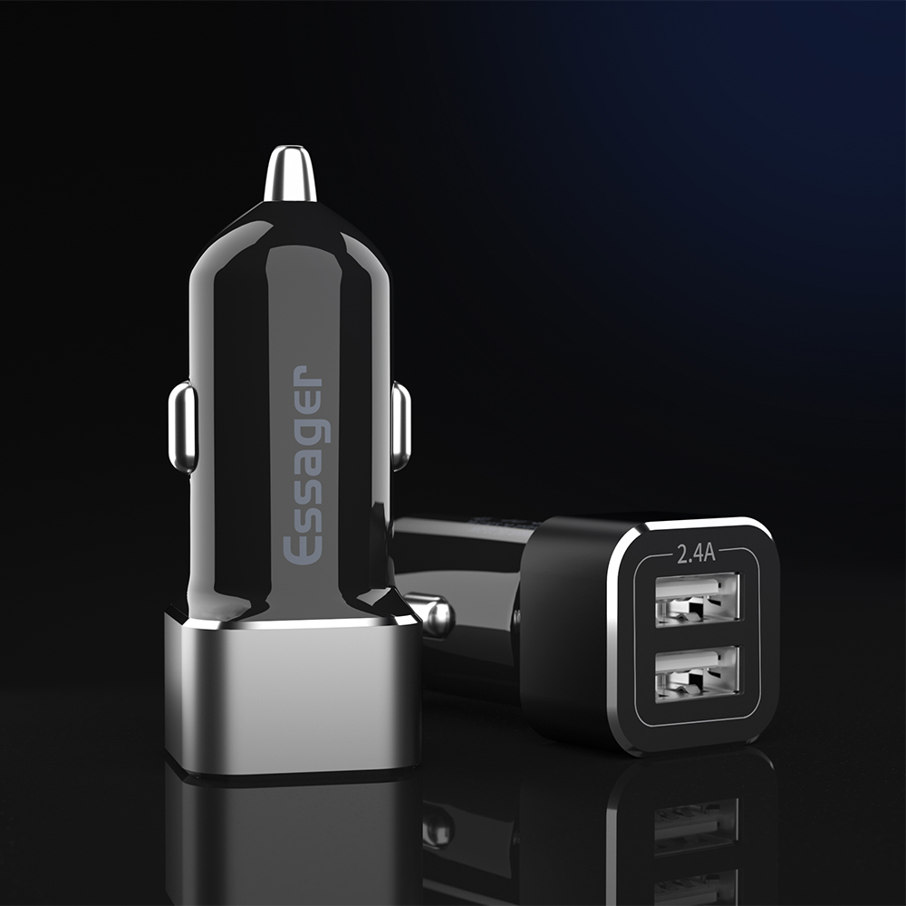 Essager Dual USB Car Charger Adapter Led 2.4A Fast Charging Car USB Charge For iPhone Samsung Xiaomi Mobile Phone Charge in <strong>Auto</strong>