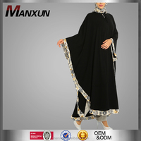 muslim dress 2016 Arabic Design Women long abaya Black Ecru Maxi Jilbab islamic clothing tudung malaysia