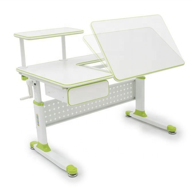 Height adjustable children multifunction study table for kids wooden