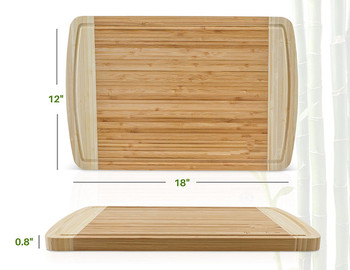 NON-SLIP, Extra Large Organic Bamboo Cutting Board with DEEP Juice Grooves