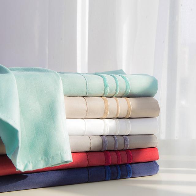Deep Pocket 4 Piece Soft Smooth Embossed Stripe Full Size White Damask Stripe Design Sheet Set