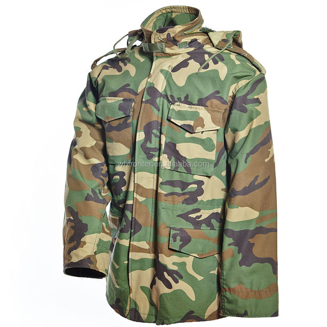 Waterproof Woodland Camouflage M-65 Field Jacket Parka/Men Military winter jacket with warm liner