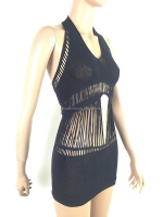 Hot Black Spaghetti strap pothole Seamless Women Sexy Dress