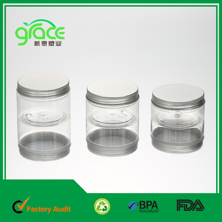 plastic jar packaging cosmetic with aluminum cap ,100ml 120ml 150ml clear pet plastic consmetic container 4oz