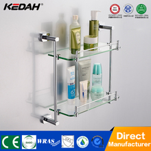 KD-8314 corner shower shelves brass holder with dual tier glass shelf for bath accessory