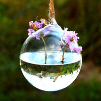 Clear hand made hanging geometric glass ball latern terrarium vase