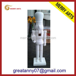 Alibaba China supplier handcraft white wooden nutcracker mold soldier wholesale action figure toys