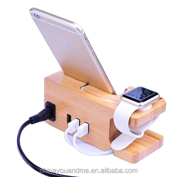 Bamboo mobile phone holder stand dock charging station for apple watch