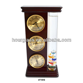 Traditional Weather Station: Galileo Thermometer, Dial Barometer, Hygrometer and Quartz Clock