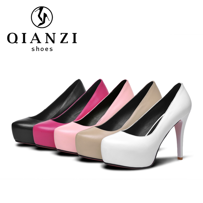 P88 Beautiful colors unique ultra high heels for women pink black white leather pumps