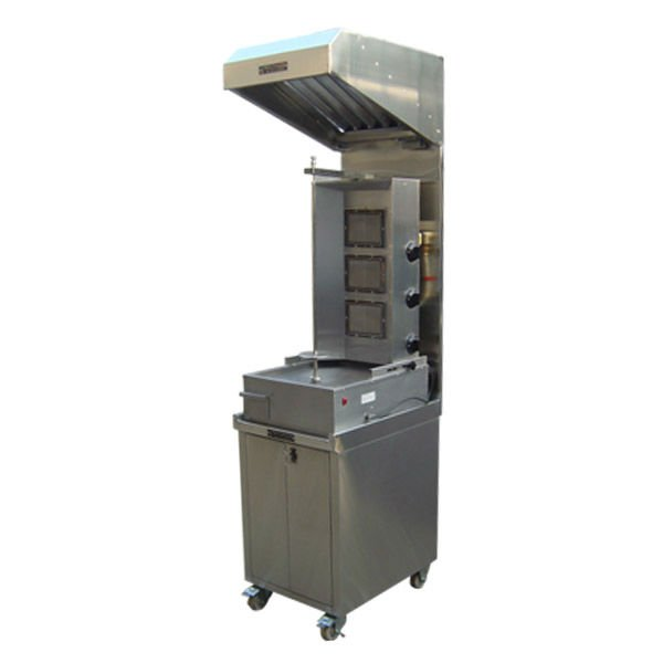 shawarma machine counter with exhaust hood