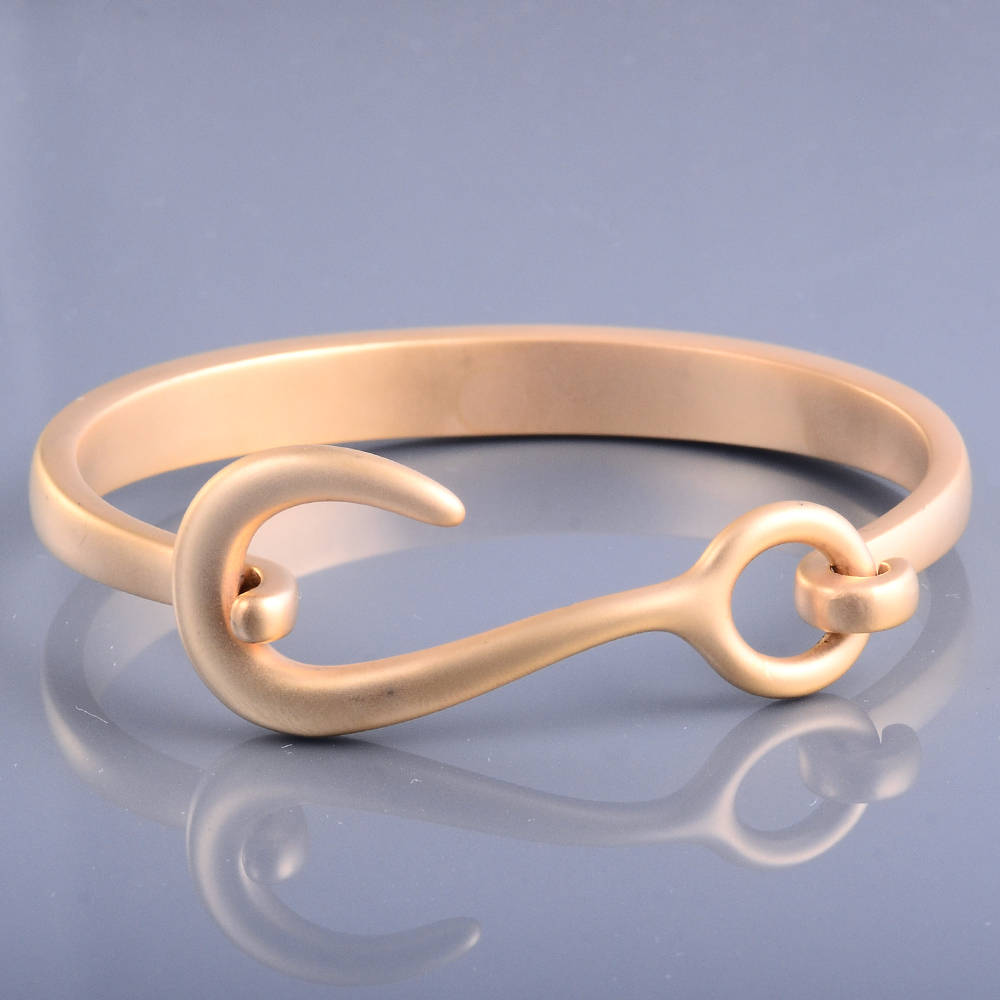 Most Popular Gold Frosted Hook Stainless Steel Gelang Bangle