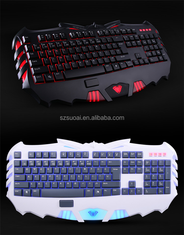 AULA SI-889 Coolest Game Partner Silicone Membrane Keyboard With Red Backlit