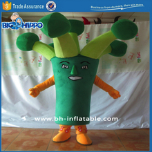 Green broccoli healthy vegetable vegeterian diet fitness funny cartoon character high quality custom mascot costume