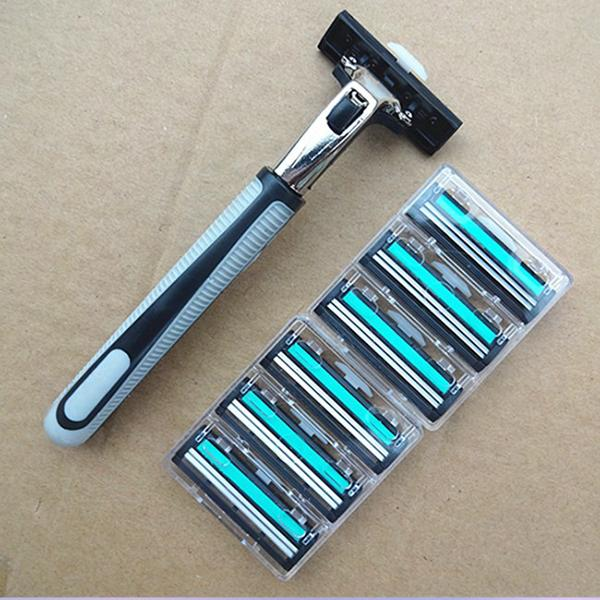 New Double Safety Razor 6 Blades Shave Shaver Butterfly Safe Stainless Steel High quality Free shipping