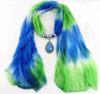 Indian pendant color gradient scarves turquoise jewelry scarf decorated with beads