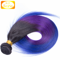 Alibaba high quality best selling virgin ombre color Indian human hair weft 3 tone 1b /purple /blue color
