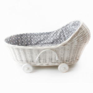 Handmade woven wicker baby moses basket with handle