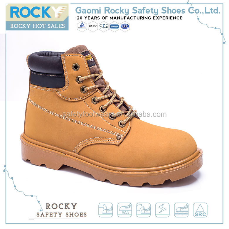 Fashionable wheat leather steel toe safety boots shoes for workers