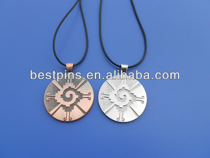Brass copper round tag necklaces with plastic string