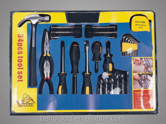 34Pcs Combination Hand Tool set,Home DIY and Laptop Mobile Repair tools