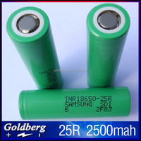 Big Sale!! Green Samsung 25r 18650 2500mah rechargeable battery 3.7v 35amp li ion cells continuous 20A discharge inr18650 25r