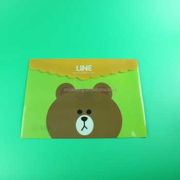 cute cartoon bear plastic file folder with magic tape, magic button a3 a4 plastic envelope, plastic pp file bag for office