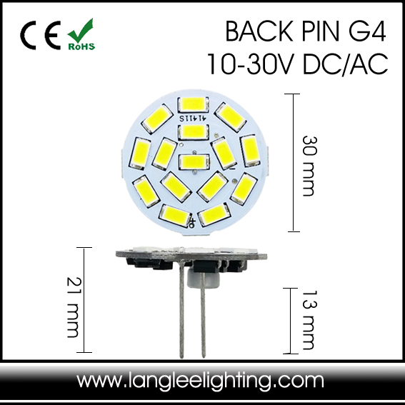 Round Disc G4 LED 2W 9SMD 5630 12V 24V 30V LED Puck Light